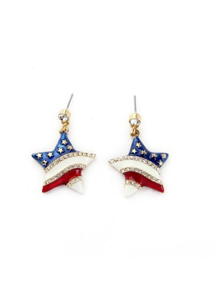 ทอง color  . Lady Fashion Stripe Inlaid Crystal Star Pendant Earrings -