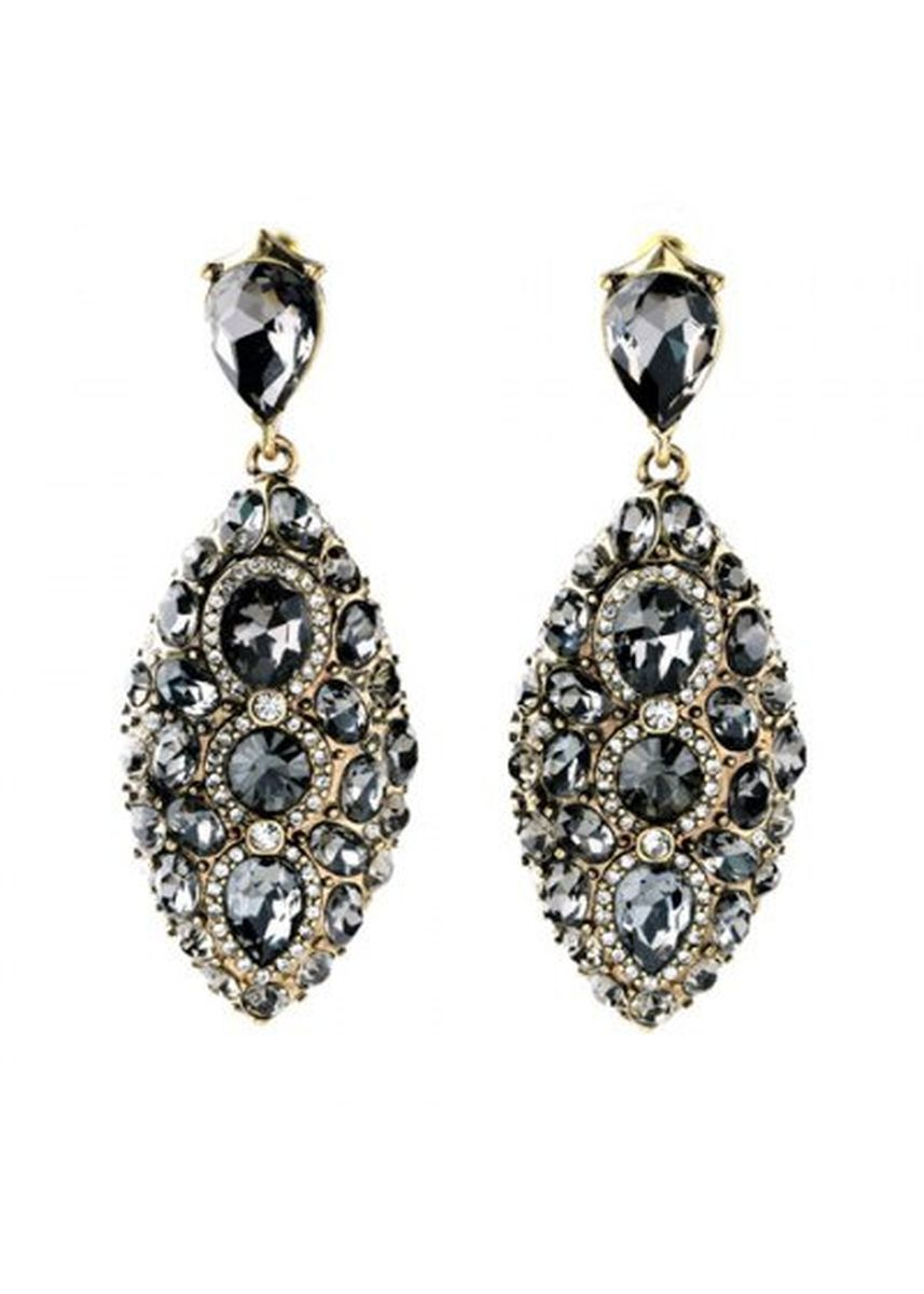 ดำ color  . Pair of Vintage Rhinestoned Oval Women's Earrings -