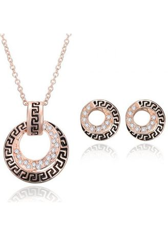 Gold color  . A Suit of Stylish Rhinestone Decorated Necklace and Earrings For Women -