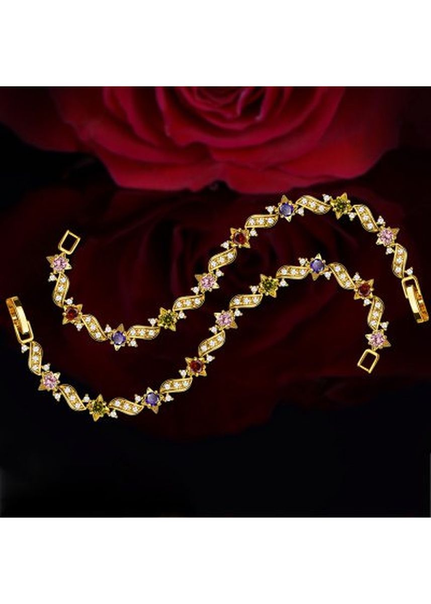 ทอง color  . Vintage Colorful 18k Gold Plated Cubic Zirconia Crystal Bracelet Women Jewelry Gifts -