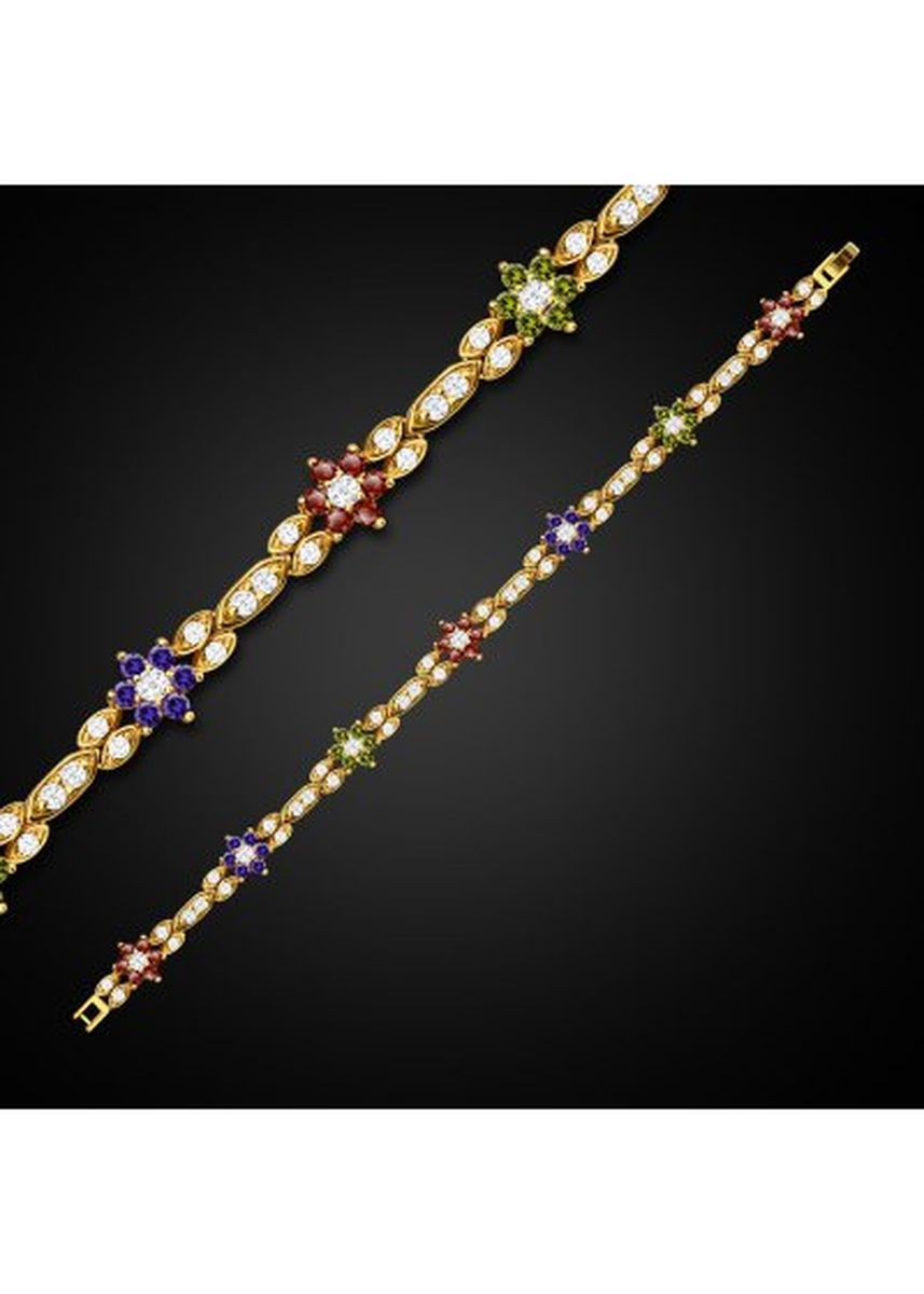 Gold color  . Luxury Colorful Flowers 18K Gold Plated Crystal Zircon Ladies Chain Bracelet -