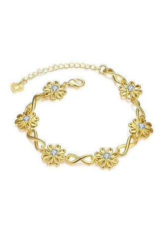 Gold color  . B027-A Graceful Inlaid White Zircon Different Types New Gift Bracelet -