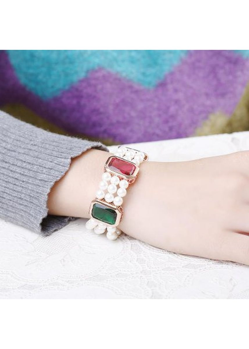 ทอง color  . Rose Gold Plated Tendy Geometrical Faux Pearl Women Bracelet -