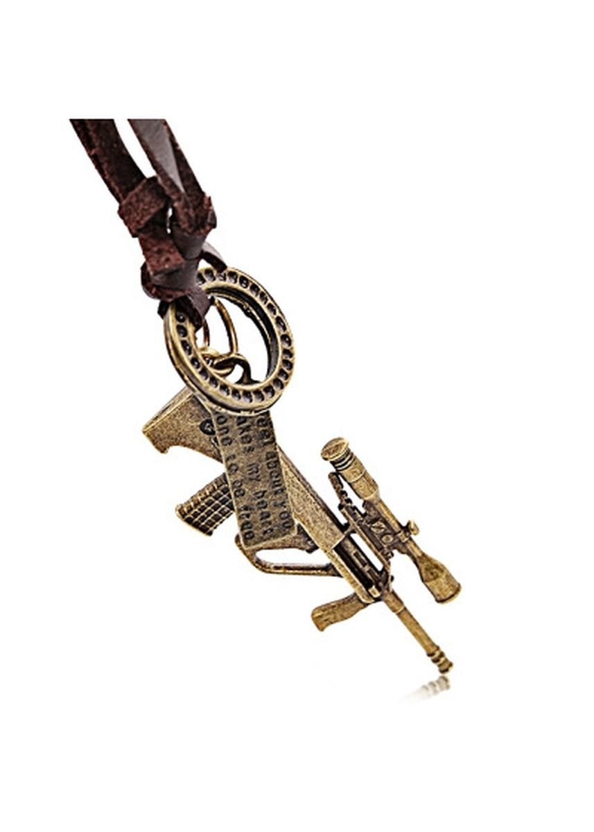 ทอง color  . Retro Sniper Rifle Pattern Adjustable Unisex Leather Necklace -