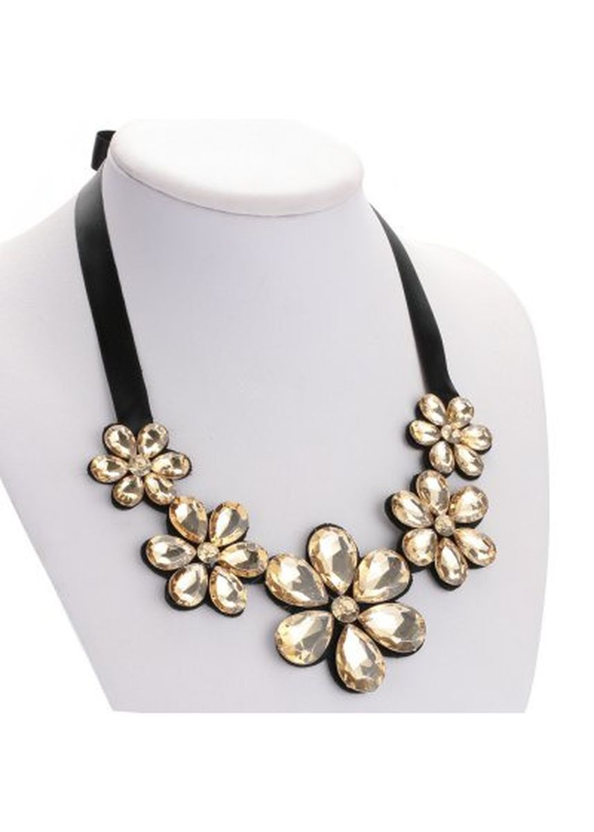 Multi color  . Trendy Floral Rhinestone Ribbon Necklace for Ladies -