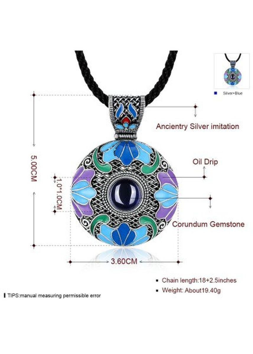 มัลติ color  . N007-A Round Diamond National Style Necklace for Women -