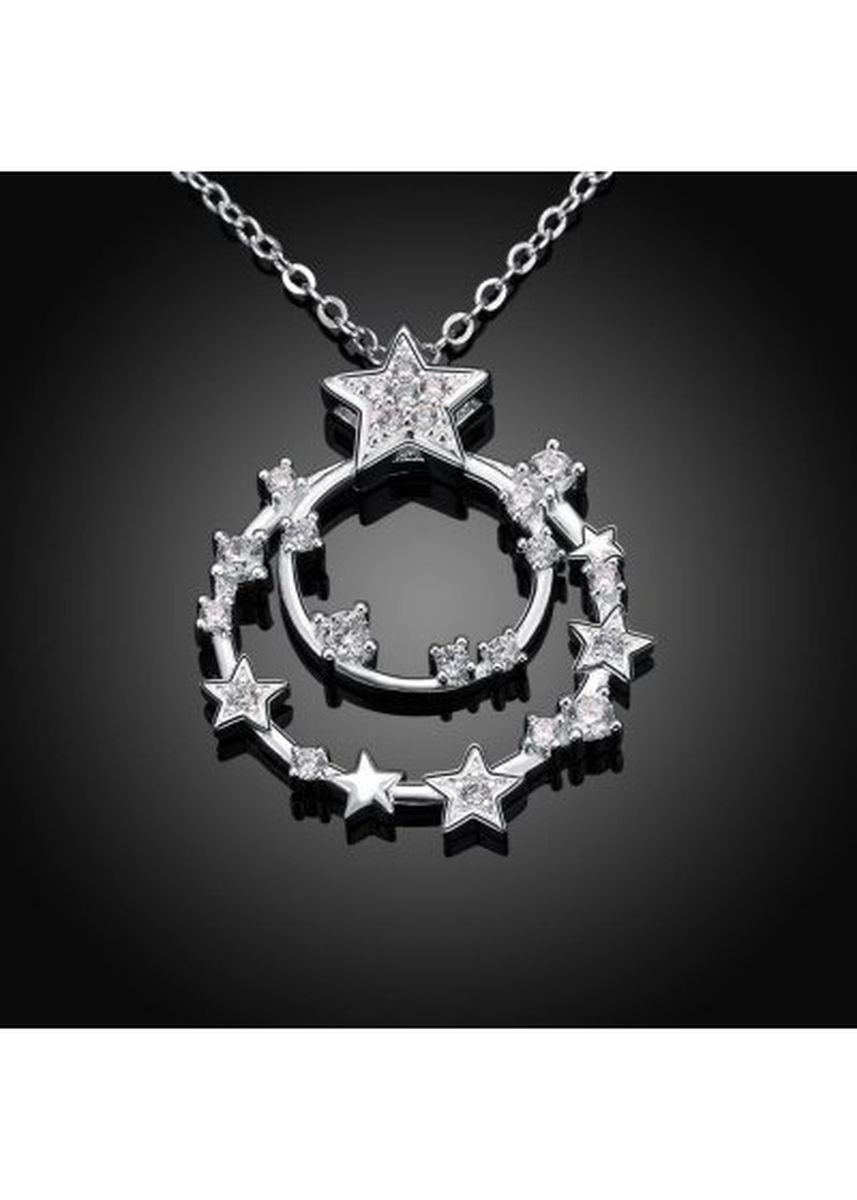 Silver color  . N718 Fashion Romantic Star Double Circle Chain Necklace -