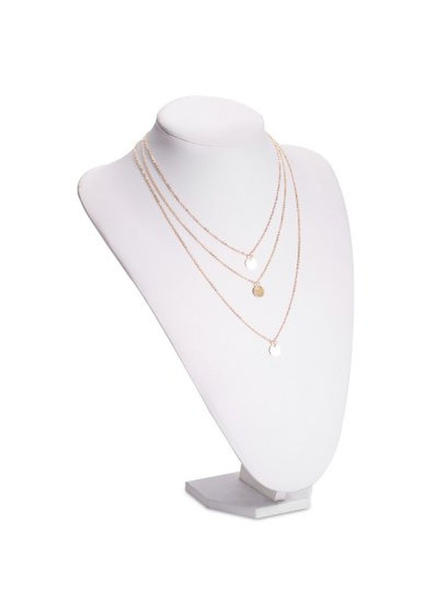 Gold color  . Alloy Layered Round Pendant Necklace -