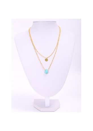 . Trendy Waterdrop Shape Turquoise Double-Layered Necklace For Women -