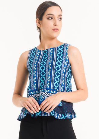 Blue color Tops and Tunics . Sleeveless Dobi Print Blouse FL008D-FW17 -