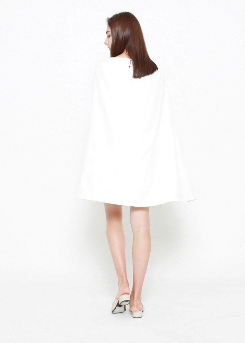 White color Dresses . Rosemary Cape Sleeve Dress -
