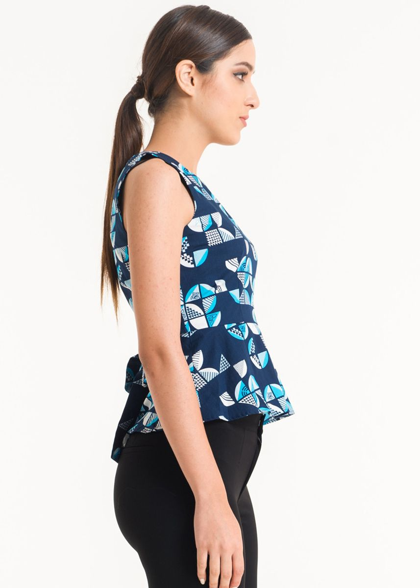 Blue color Tops and Tunics . Sleeveless Cotton Print Blouse FL007D-FW17 -
