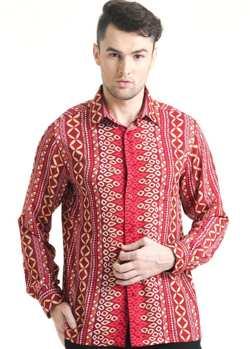 Red color Casual Shirts . Long Sleeve Dobi Print Shirt FM011B-FW17 -