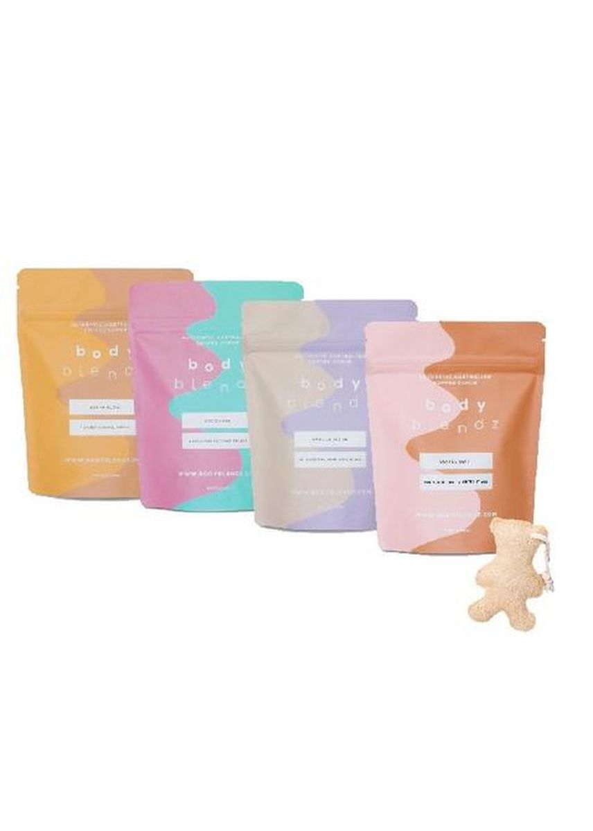 No Color color Body Scrub . The Complete Kit With Teddy Loofah -