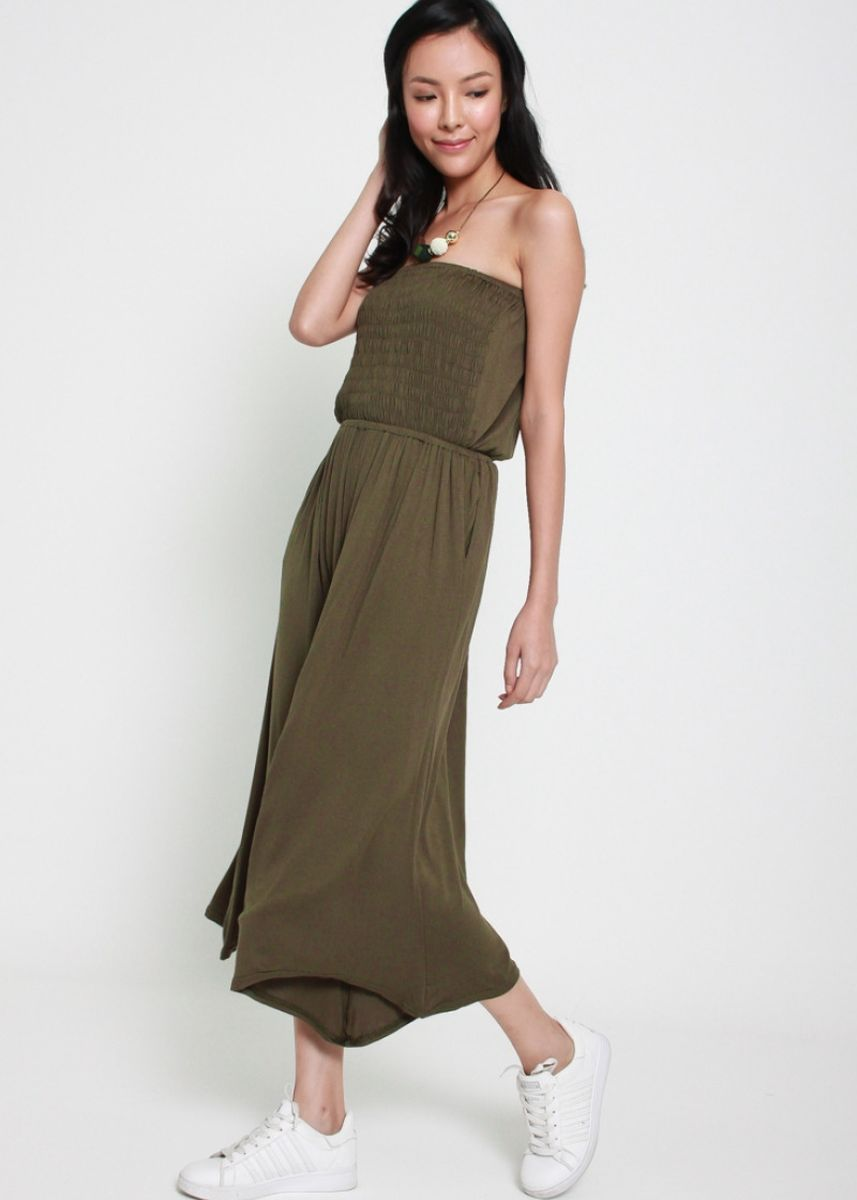 Olive color Jump Suits . Bust A Move Tube Jumpsuit -