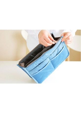 Blue color Travel Wallets & Organizers . 6.กระเป๋าจัดระเบียบ13ช่อง ฟ้า -