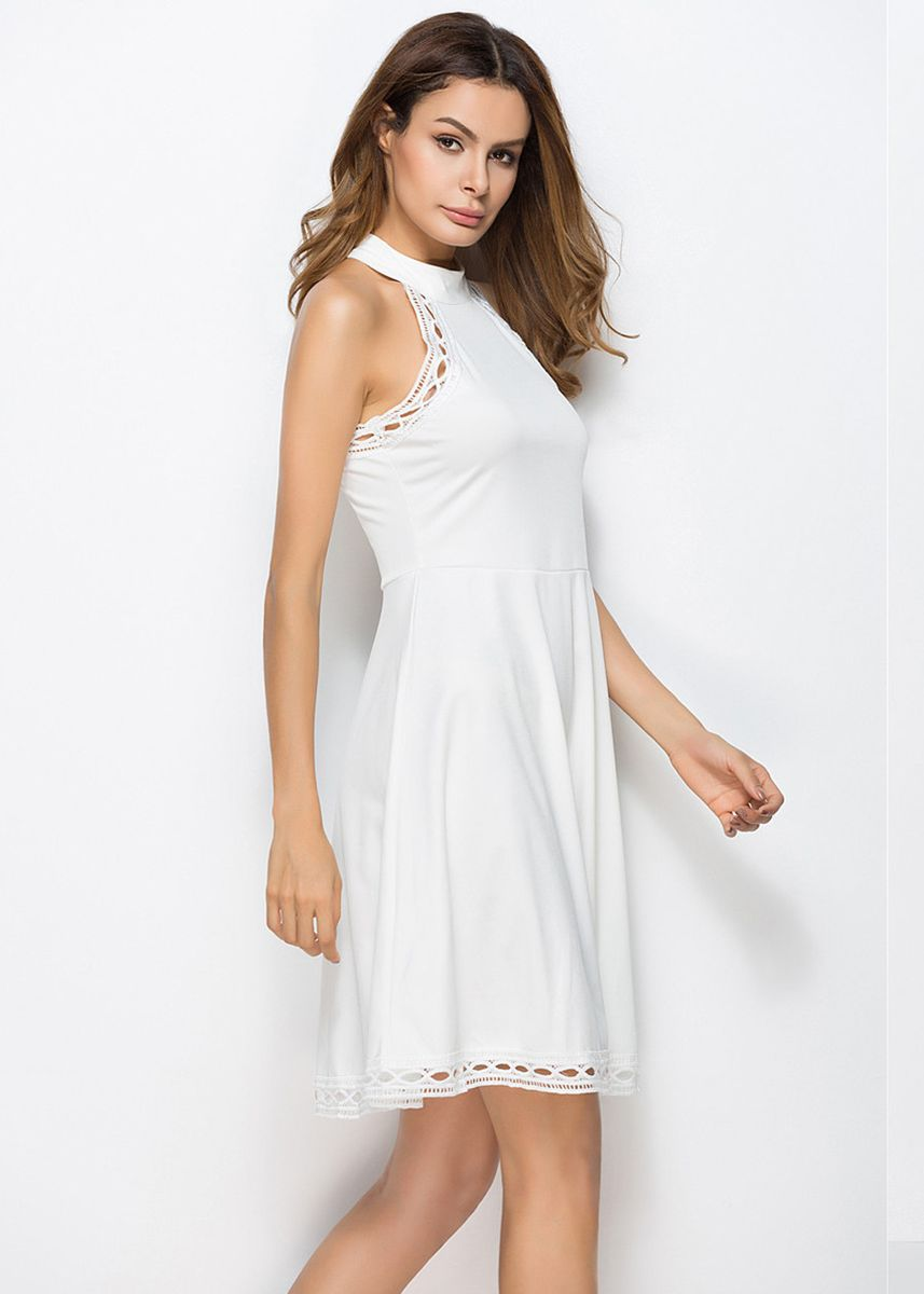 White color Dresses . Lace Stitching Halter Swing Dress -