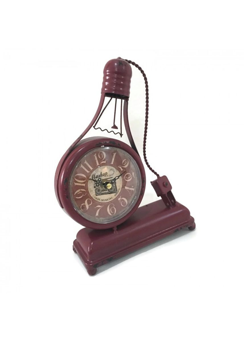 Multi color Home Decor . Vintage Retro Bulb Metal Iron Table Clock 4 inches- Quite Sweep-Red -