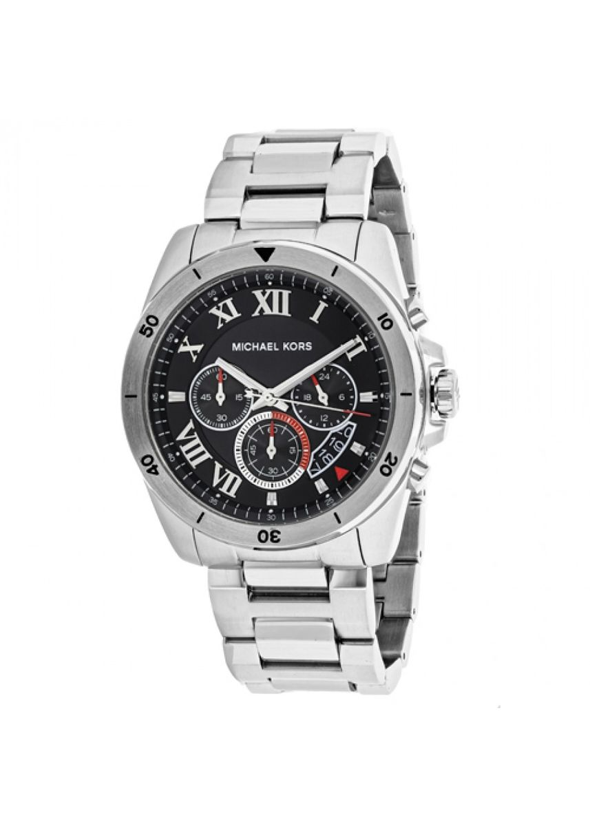 Silver color Analog . Michael Kors Brecken Chronograph Black Dial Stainless Steel Mens Watch MK8438 -