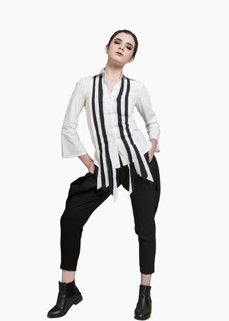 White color Tops and Tunics . NAJA NAJA SLASHES B-01 WHITE AND BLACK -