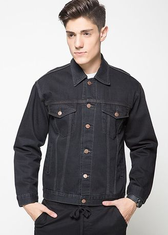 Black color Outerwear . 2Nd Red Jaket Jeans Pria Hitam Raw-191112 -