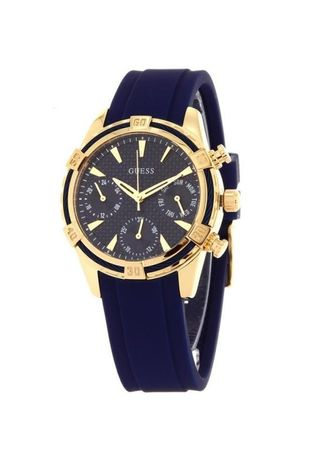 Analog . GUESS Women's U0562L2 Iconic Indigo Blue & Gold-Tone Multi-Function Watch with Comfortable Silicone Strap -