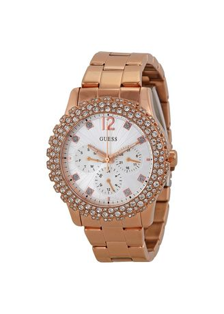 Gold color Analog . GUESS U0335L3 (39mm) Shimmering Multi-Function Silver Dial Rose Gold-tone Ladies Watch -