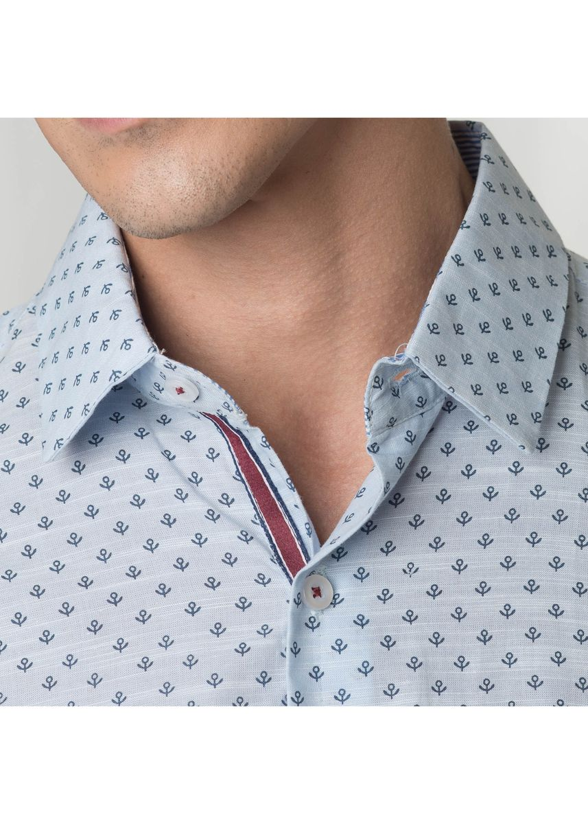 Blue color Formal Shirts . Août Singapore Men's Short Sleeved Shirt - Jemima -