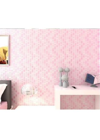 No Color color Home Decor . Wallpaper 3D Non Woven Embossed Mosaic Ephedra Plain - Pink 90086 -