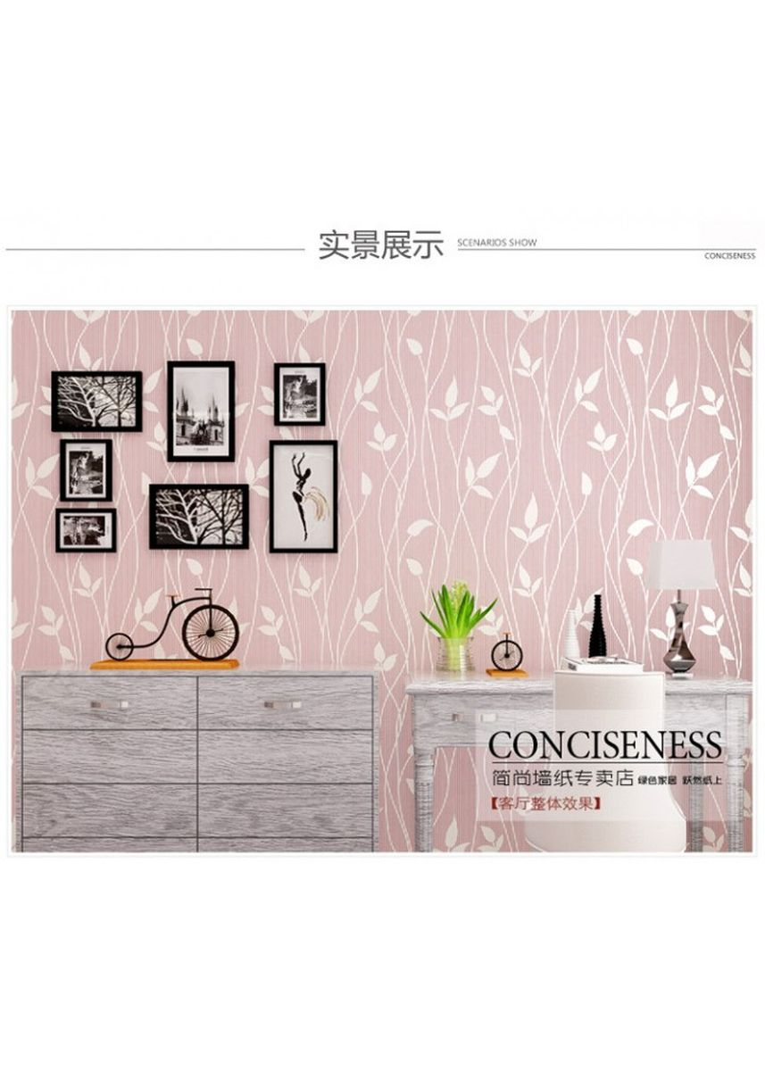 No Color color Home Decor . Wallpaper 3D Self Adhesive Warm Idillyc Leaf 53cmx5m - Pink -