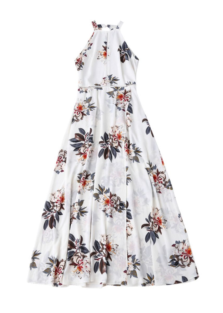 White color Dresses . Bohemian Floral Open Back Maxi Dress -