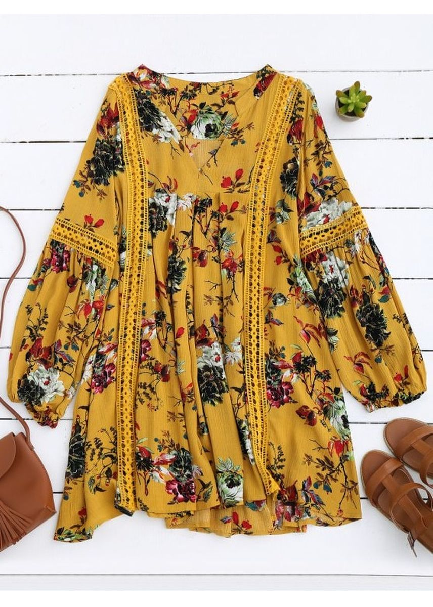 Yellow color Dresses . Cut Out Floral Tunic Dress -