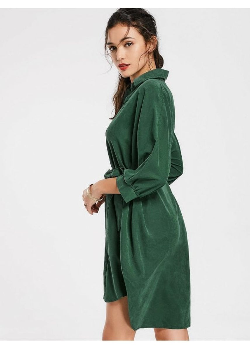 เขียว color เดรส . Belted Plain High Low Dress -