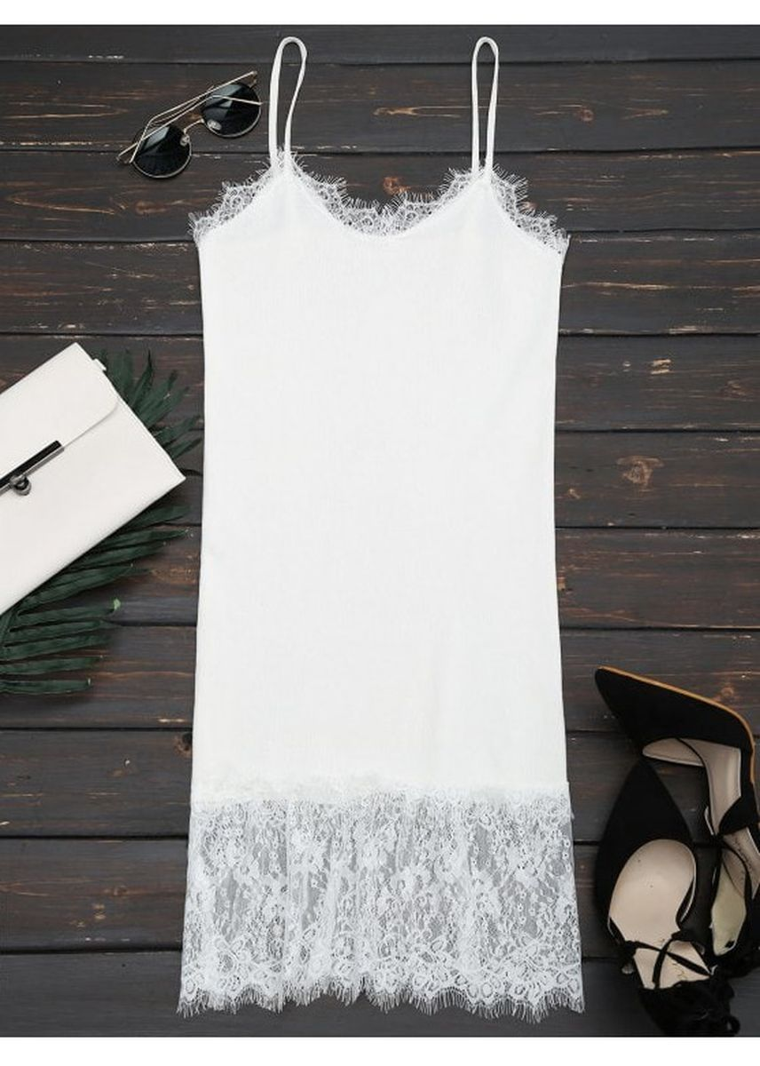 White color Dresses . Lace Panel Knitted Cami Dress -