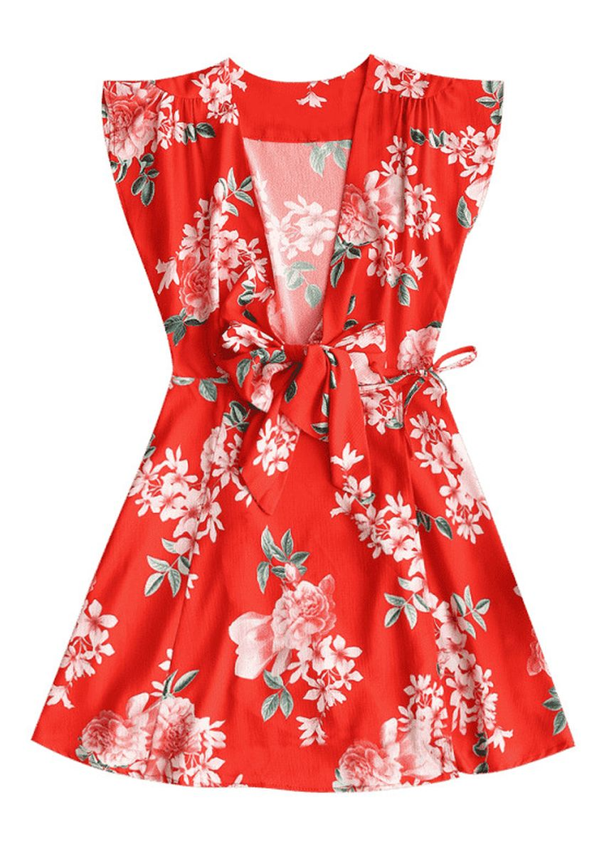 Red color Dresses . Tied Floral Wrap Mini Dress -