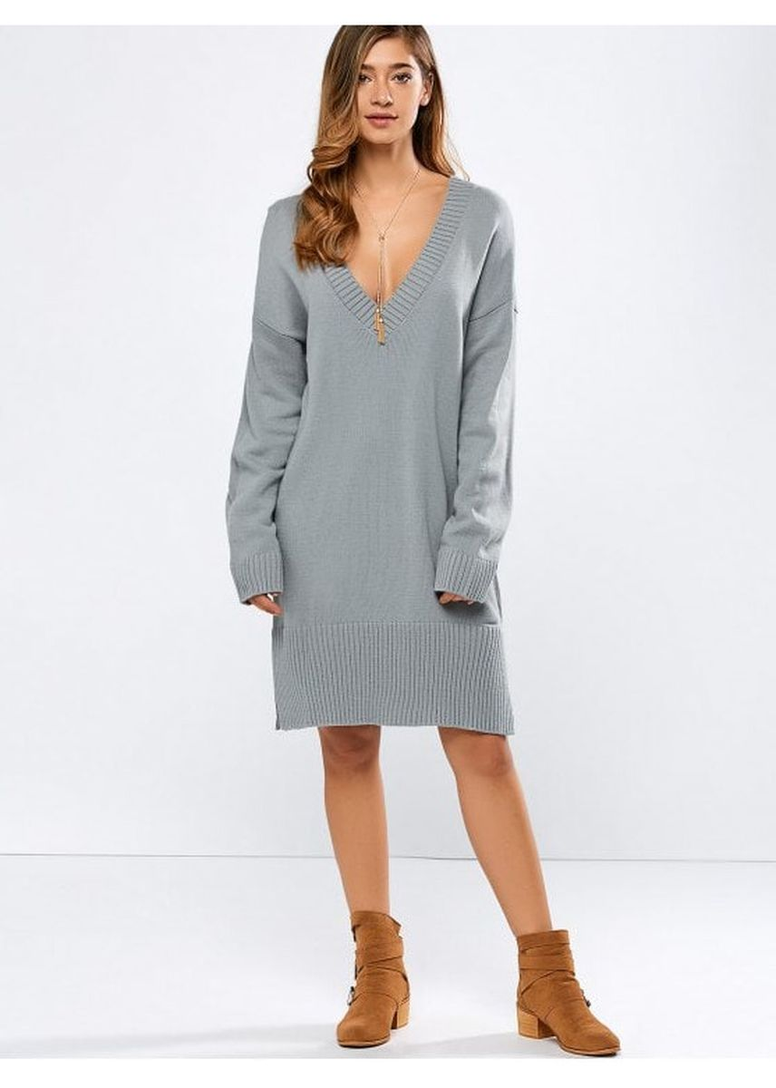 เทา color เดรส . V Neck Slit Sweater Dress -