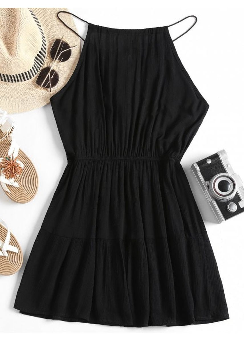 Black color Dresses . Embroidered Patched Tassels Cami Dress -
