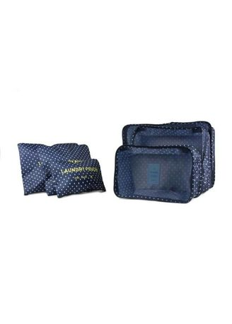 Navy color Travel Wallets & Organizers . กระเป๋าจัดระเบียบเซต6ชิ้น กรม -