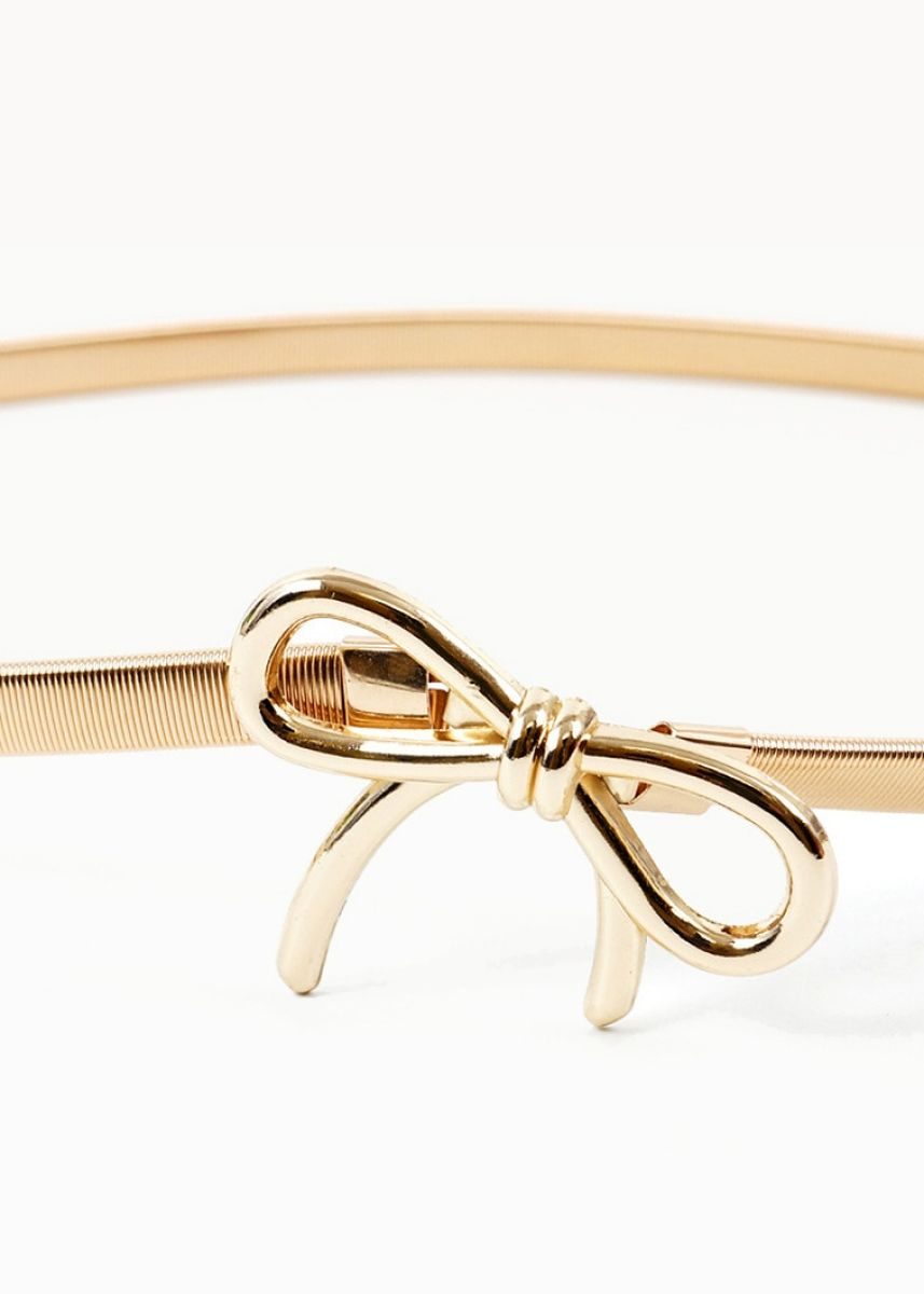 Gold color Belts . New Elastic Waist Belt With Loops Detail -