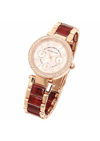 2cb9791049ff MICHAEL KORS Mini Parker Multi-Function Rose Dial Rose Gold-plated and  Amber Tortoise-shell Acetate Ladies Watch MK6329