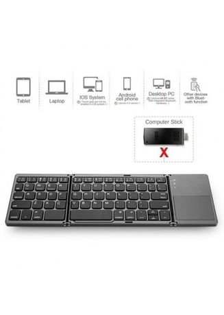 Black color  . B033 - Three Layers Generic Mini Bluetooth Foldable Keyboard with Touchpad For Windows Android IOS - 3 Lipat Praktis -
