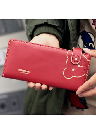 Red color Wallets and Clutches . KPwallet กระเป๋าสตางค์ตามวันเกิด กระเป๋าสตางค์ผู้หญิง กระเป๋าสตางค์หนัง KW-099 (สีแดง) -