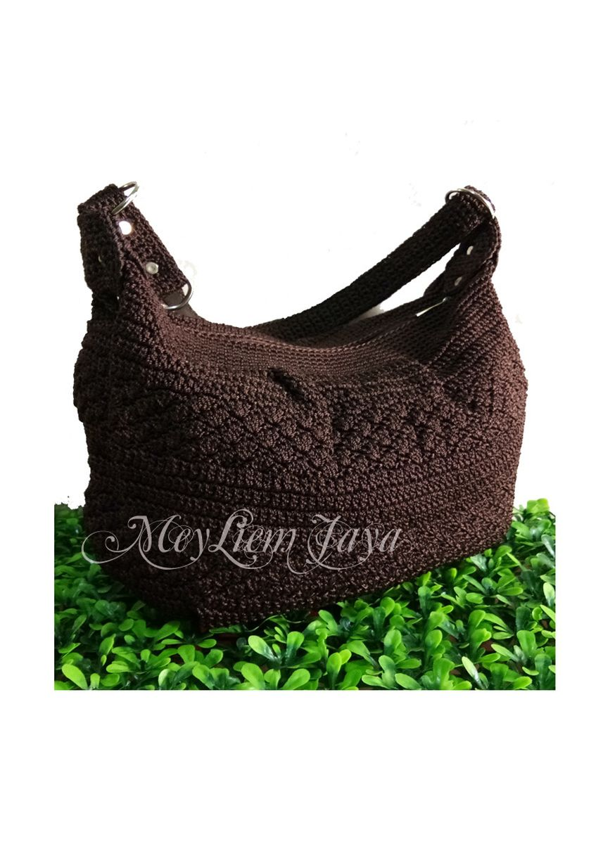 Brown color Sling Bags . Meyliem Jaya Tas Rajut Hobo Balon Mini - Coklat -