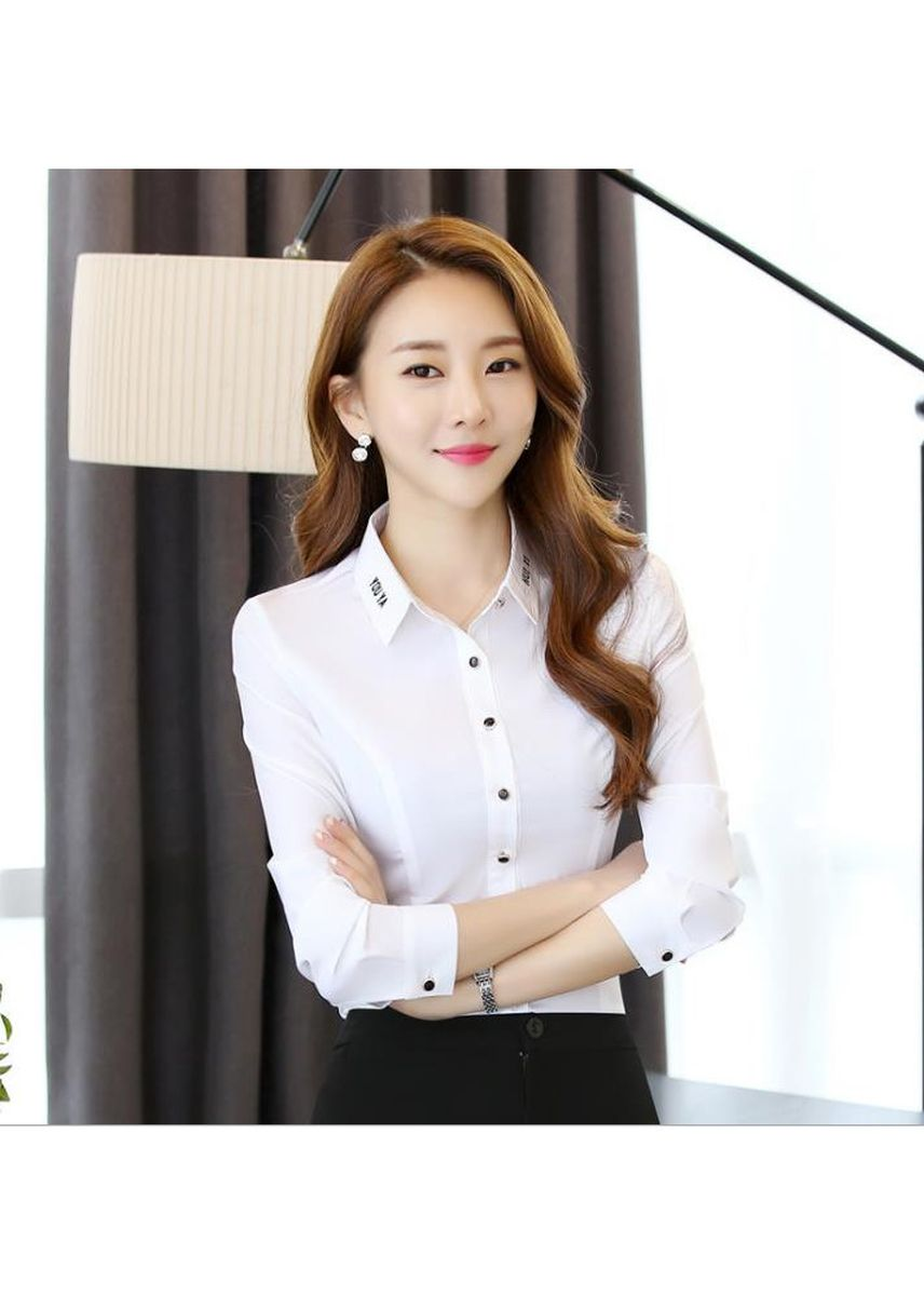 White color Tees & Shirts . Women's Business Wear Long-sleeved Wild White Shirt  -
