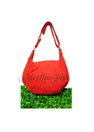 Red color Sling Bags . Meyliem Jaya Tas Rajut Hobo Balon Mini - Merah  -
