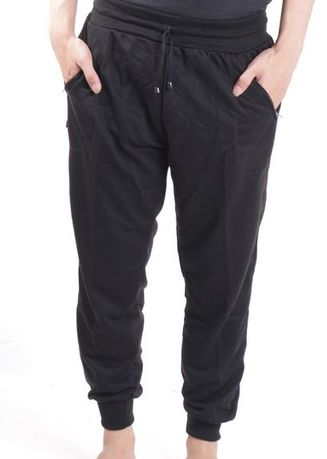 Black color Casual Trousers and Chinos . [Calista] Celana panjang jogger Button -