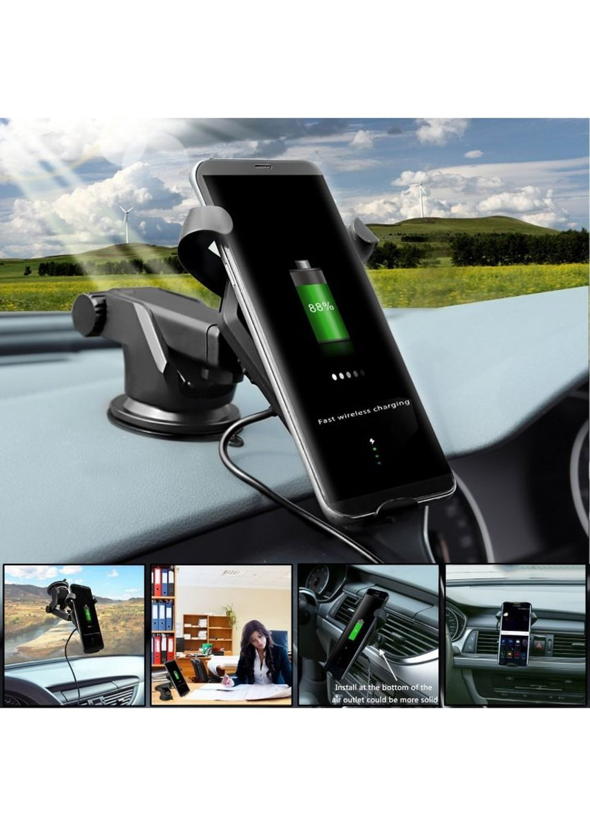 Black color  . FAST CHARGE Qi-Enabled Wireless Charger 2 in 1 Car Air Vent Holder -