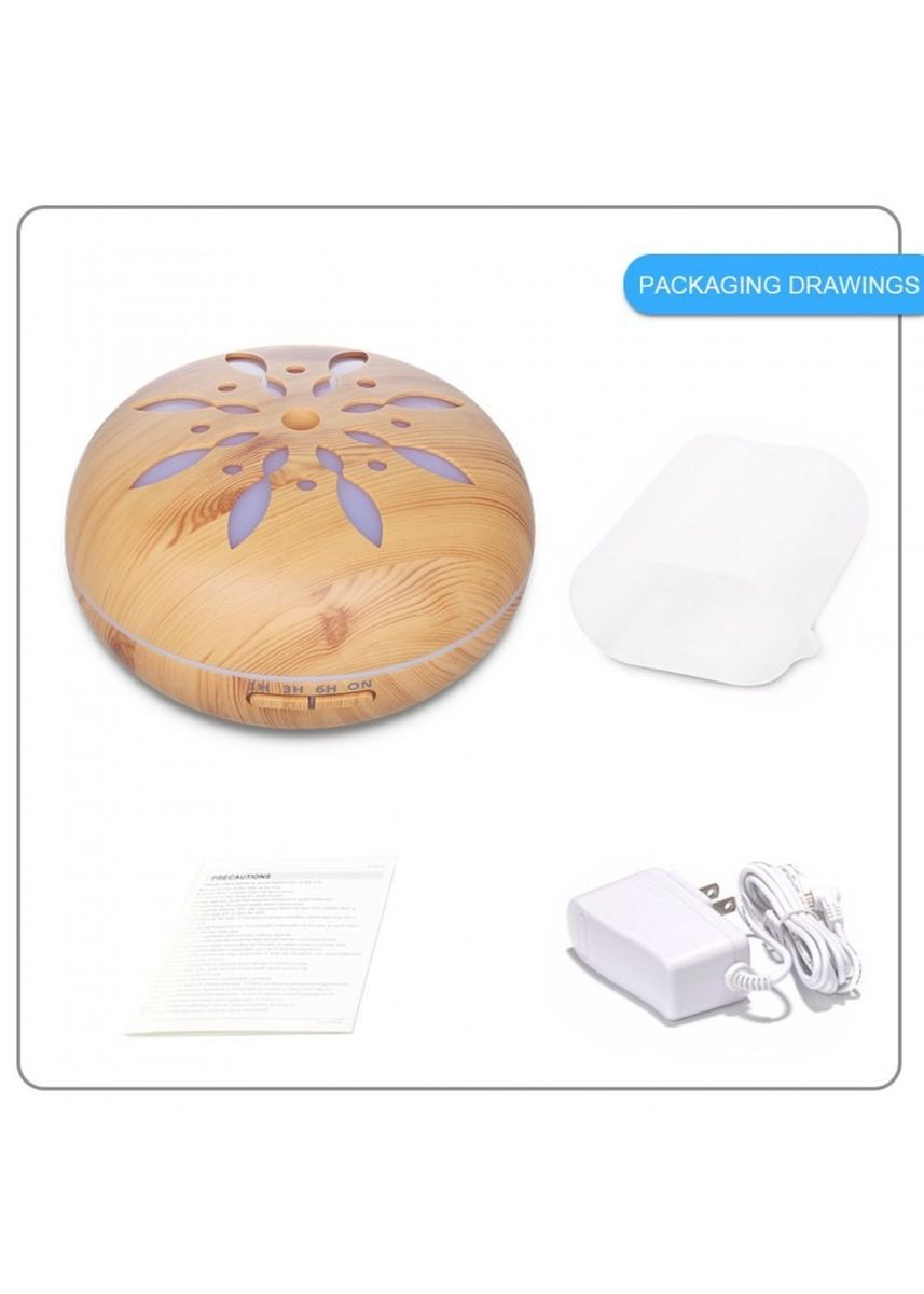 Multi color Home Decor . H25 - Wooden Humidifier Aroma Diffuser 7 Color LED Light 550ml Brown -