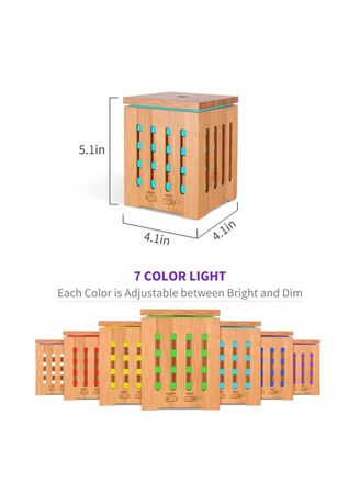 Home Decor . H27 - Wooden Humidifier Aroma Diffuser 7 Color LED Light 350ml -