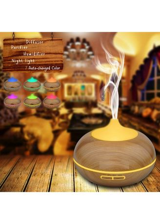. Wooden Essential Oil Diffuser 300ml Ultrasonic Aroma Diffuser Humidifier with 7 Color LED -